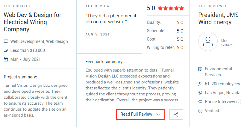 Attention to Detail: Tunnel Vision Design LLC Earns 5-Star Clutch Review 1