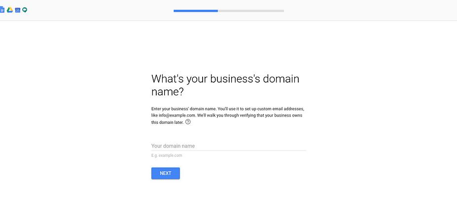 Nơi nhập tên miền doanh nghiệp của bạn khi thiết lập tài khoản G Suite.