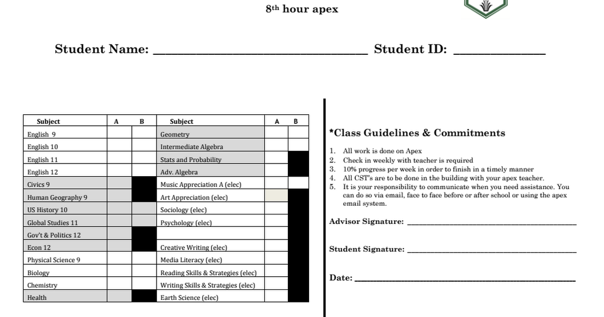 Eighth hour Apex registration