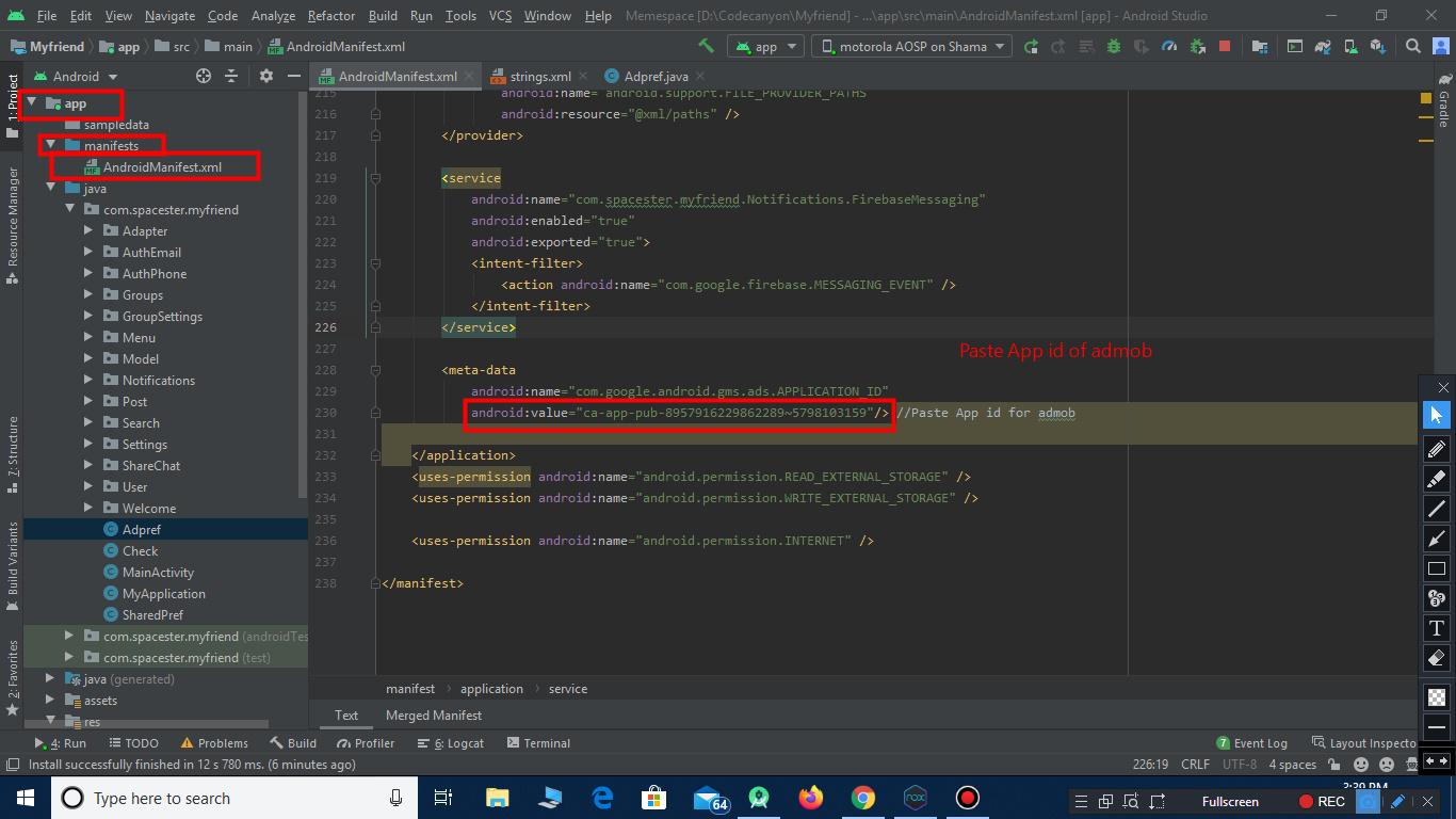 App id paste in app code in android studio