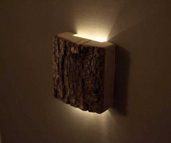 Настенный вариант люстры из дерева своими руками