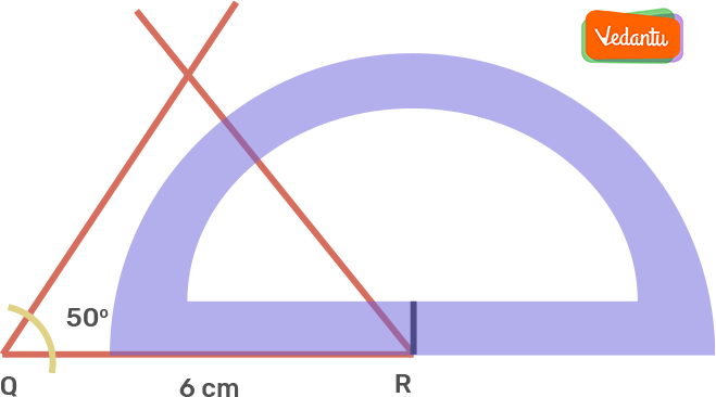 Taking R as the centre, draw an angle of 50° using the protractor (angles opposite to the equal sides of an isosceles triangle are equal)