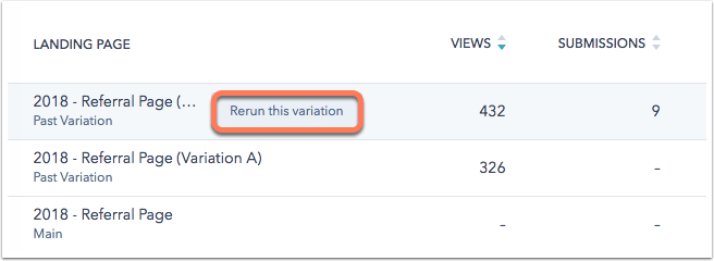 HubSpot page variations and results