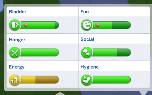 Self-care in de Sims, screenshot van de Sims behoefte-balkjes: Blaas, plezier, honger, sociaal, energie (slaap), hygiëne