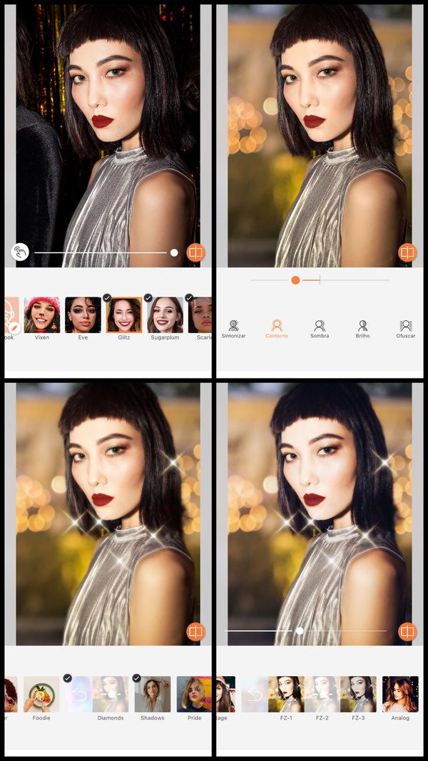 Montagem com 4 fotos de uma mulher asiática posando de lado mostrando como usar as ferramentas do AirBrush