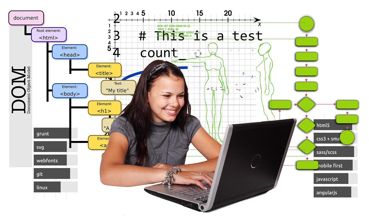 girl working on laptop exploring code
