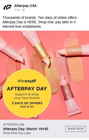How Afterpay advertises on social media