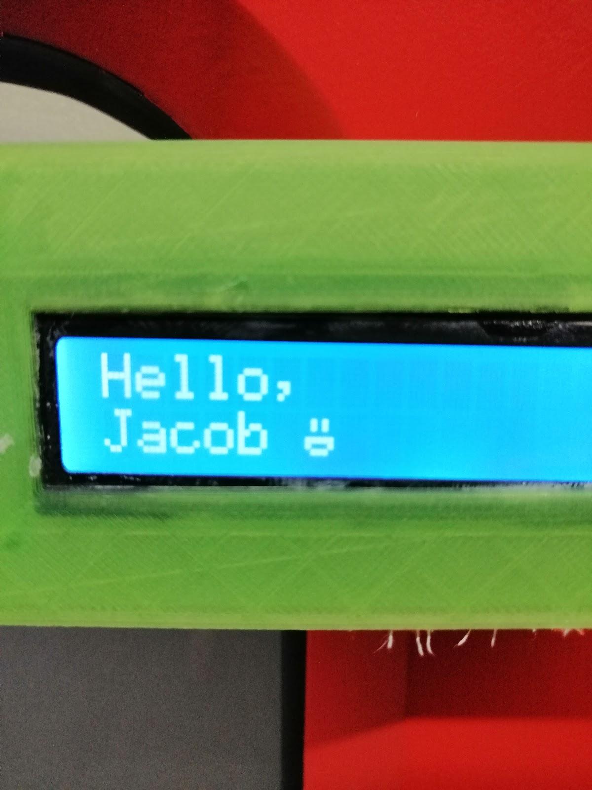 hello jacob on a screen