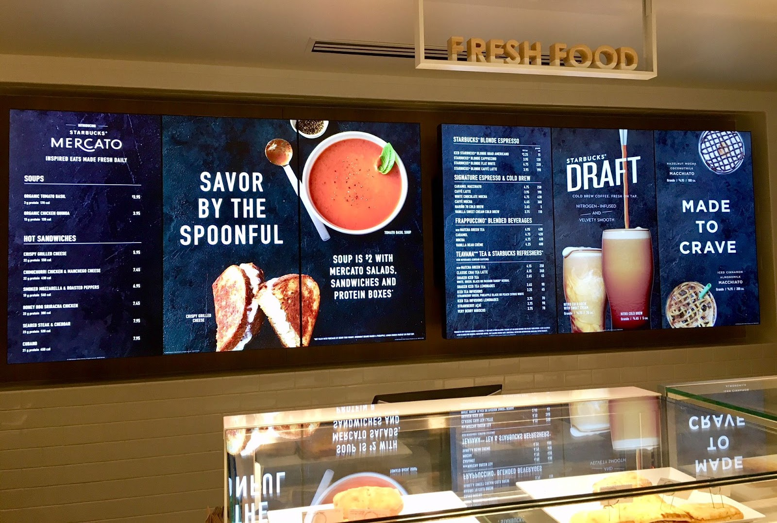 Starbucks uses digital menu boards in many of their locations