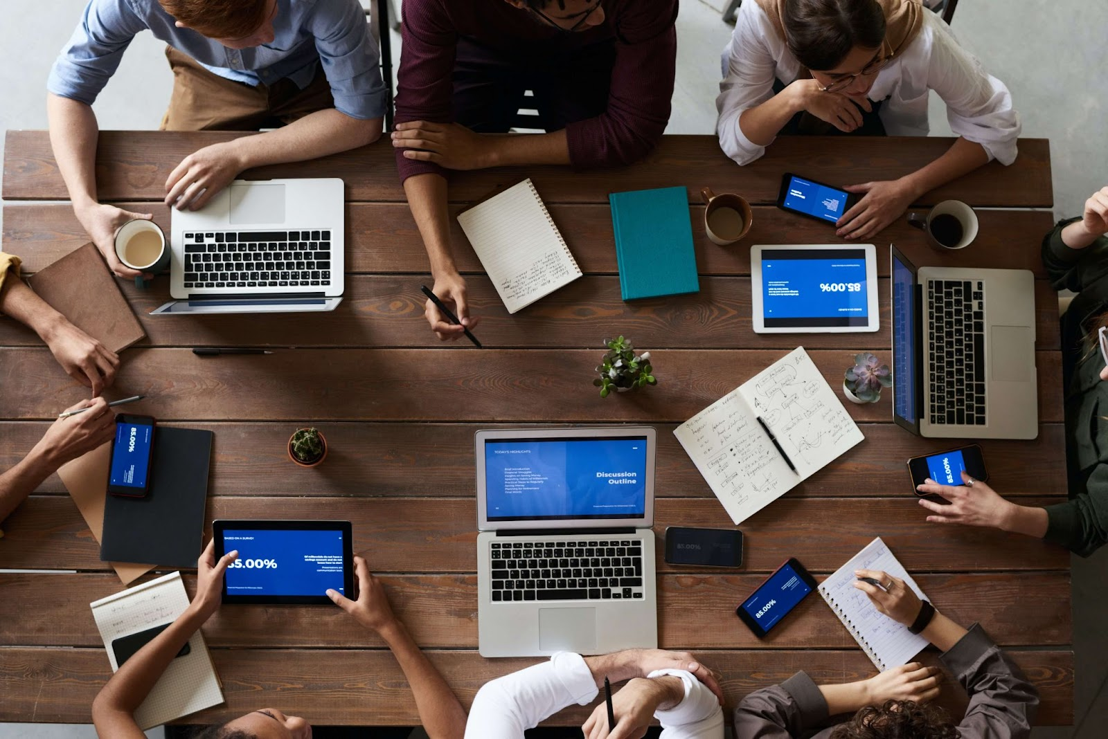 Communication in the workplace via laptops and tablets