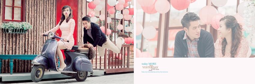 Vespa cổ khiến bộ ảnh cưới trở nên ngọt ngào, dễ thương và lãng mạn hơn