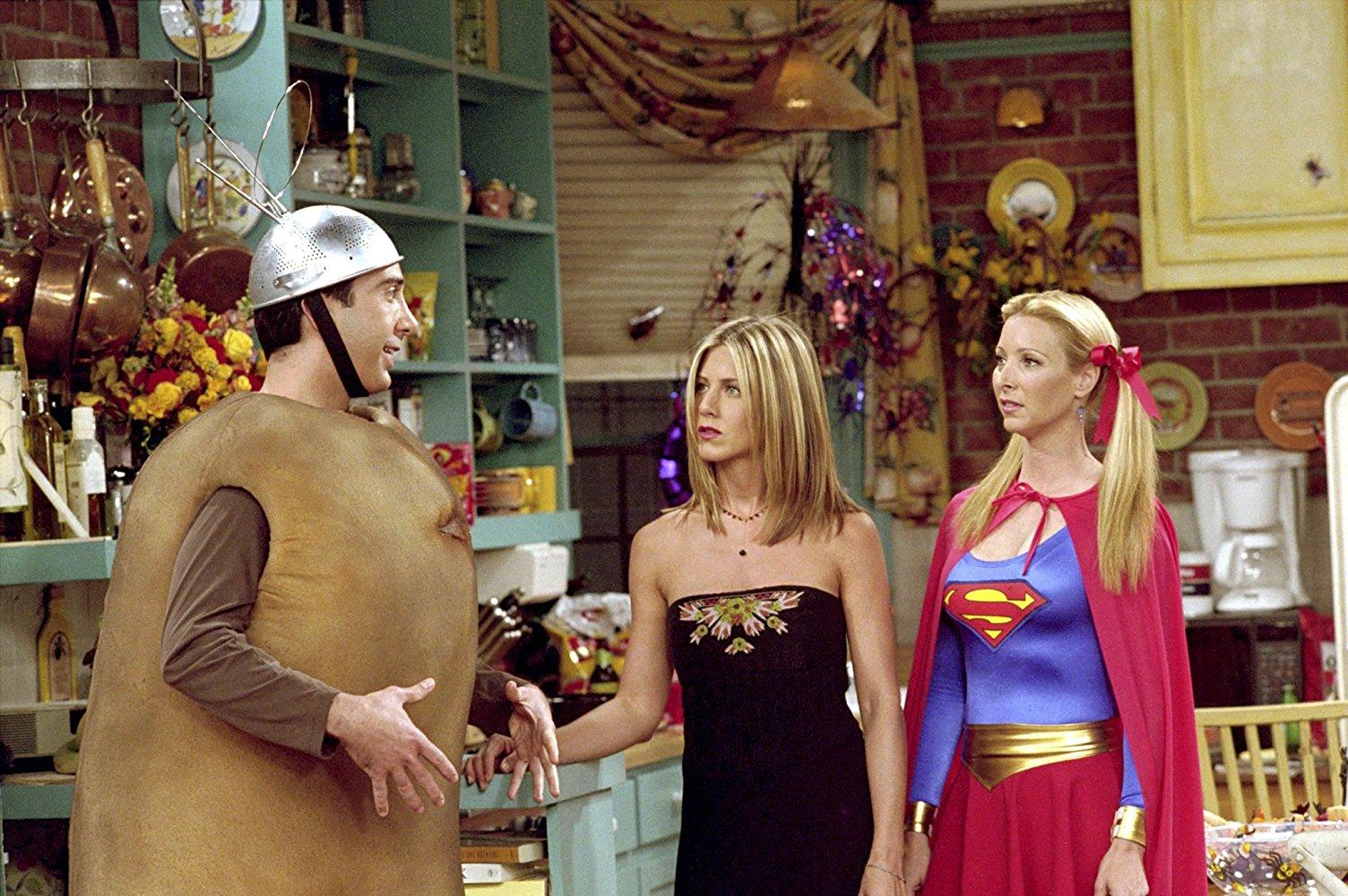 Ross, Rachel and Phoebe dressed in Halloween costumes