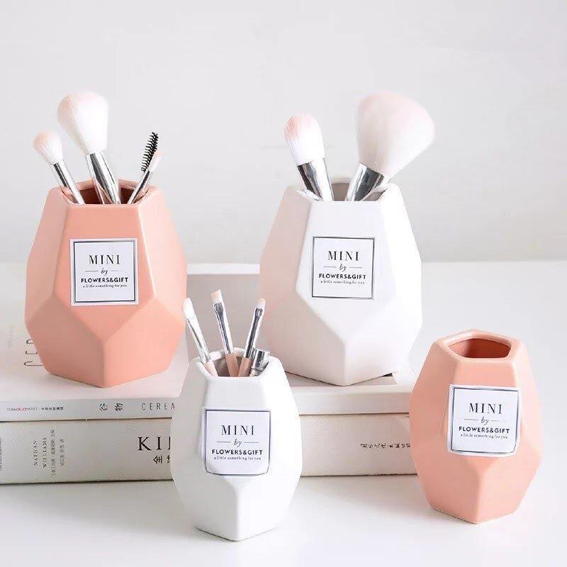 Кисть для макияжа керамическая банка для хранения розовый керамическая  емкость бутылки органайзер для косметики настольная подставка для ... -  Drodelrohir