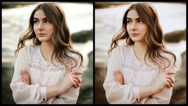 antes e depois da foto de uma mulher morena sendo que uma das fotos está sendo utilizado o filtro Sandn do AirBrush