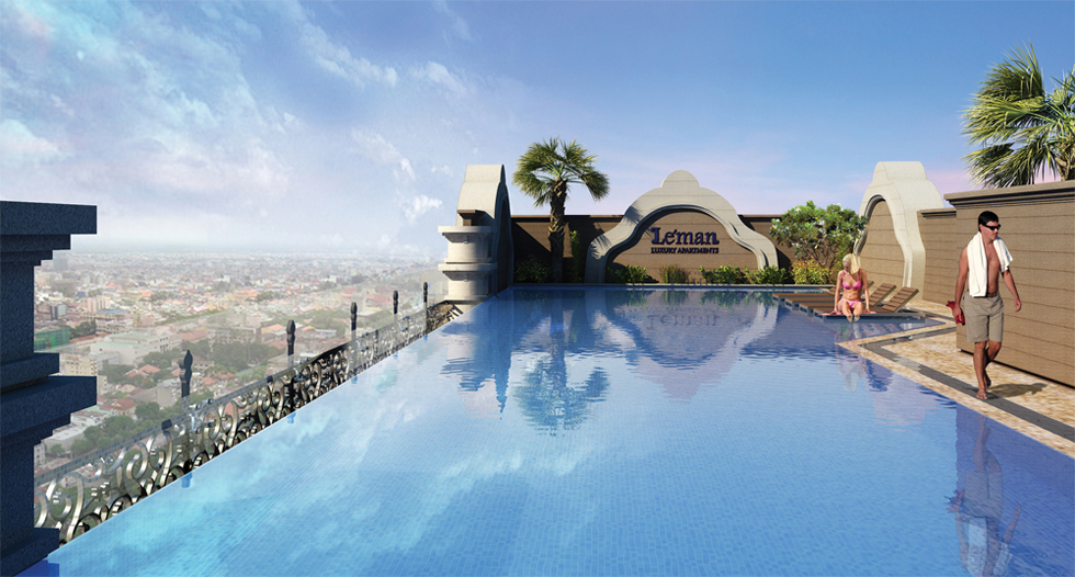 Rooftop infinity pool at Leman Luxury District 3