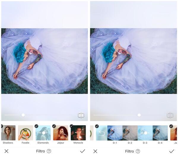 Foto da mulher deitada na grama com um vestido azul claro sendo editada pelo AirBrush com Filtro