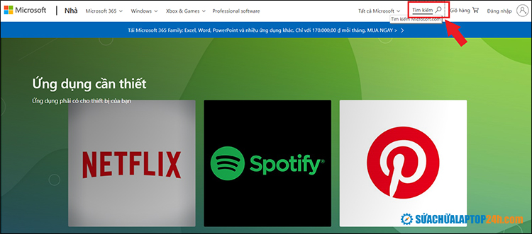 Tìm kiếm trên Microsoft Store