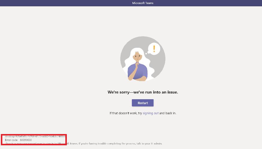 Microsoft Teams Error Code 80090030