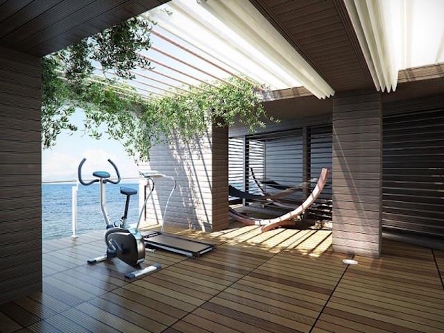 Phòng gym view nhìn ra biển