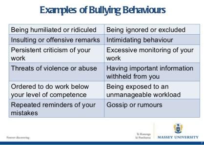Examples of bullying behavior