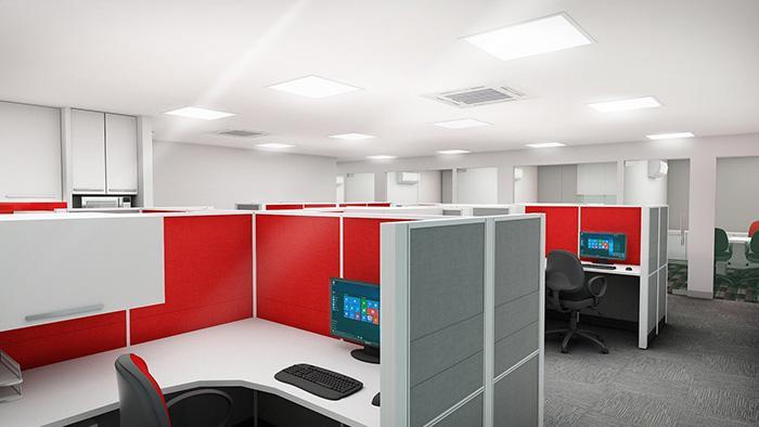 Mẫu Văn phòng làm việc chung của nhân viên được thiết kế hiện đại trong nhà 2 tầng