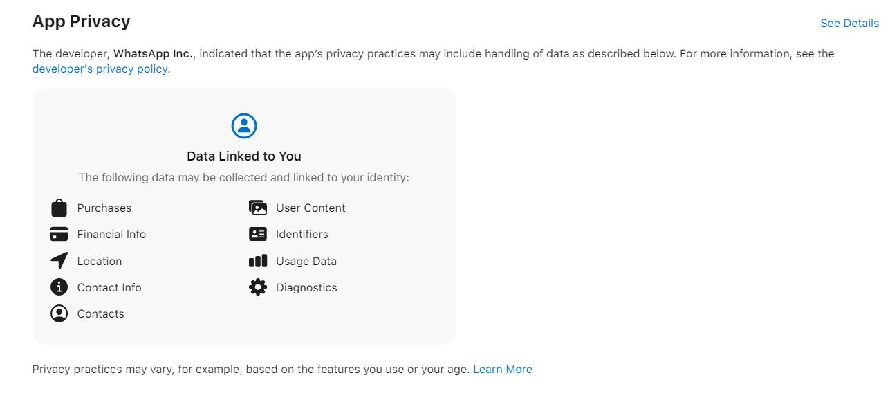 App store screenshot for whatsapp update
