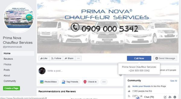 Prima-Nova-Chauffeur-Services-page-on-FaceBook
