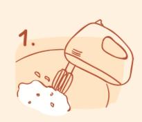 牛軋餅作法-將蛋白打發至應性發泡