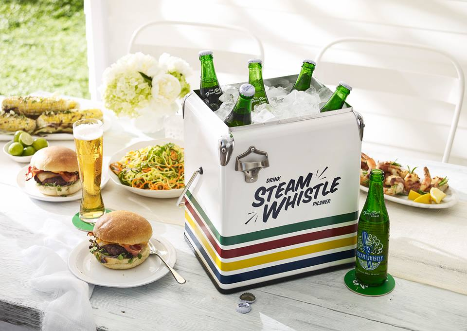 Steamwhistle with summer BBQ burgers and salads