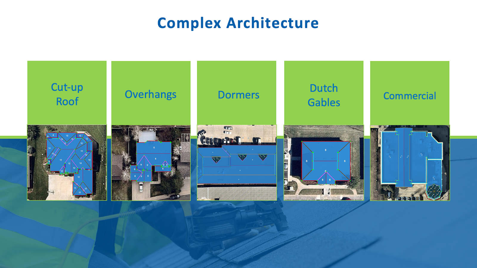 Complex Architecture that RoofSnap's tools can handle.