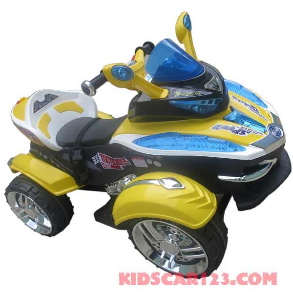 xe mô tô điện 4 bánh HC -1058 màu vàng cahnh