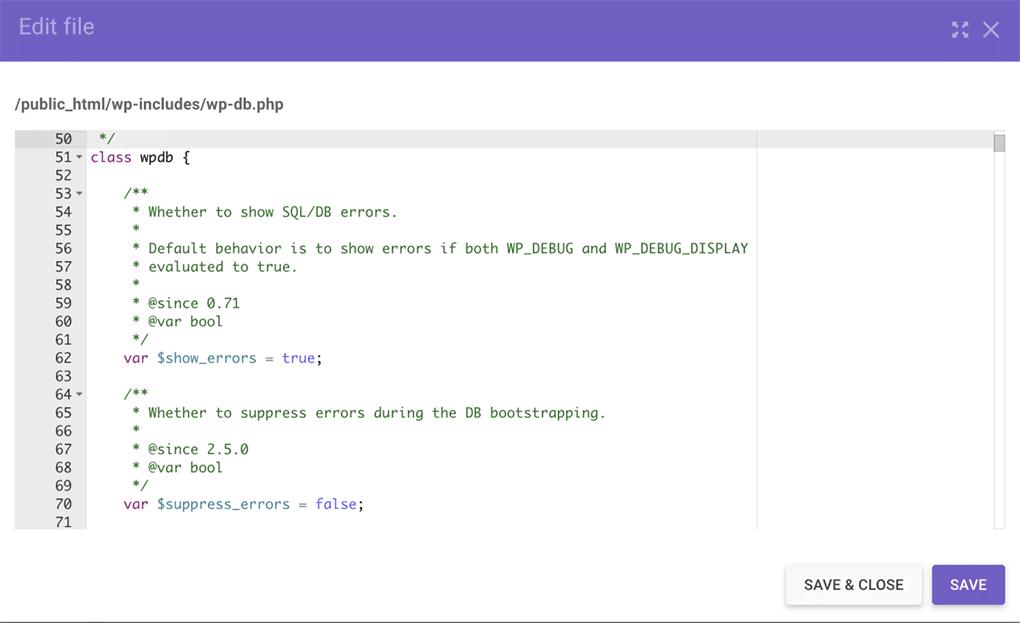 tela de edição do arquivo wp-db.php