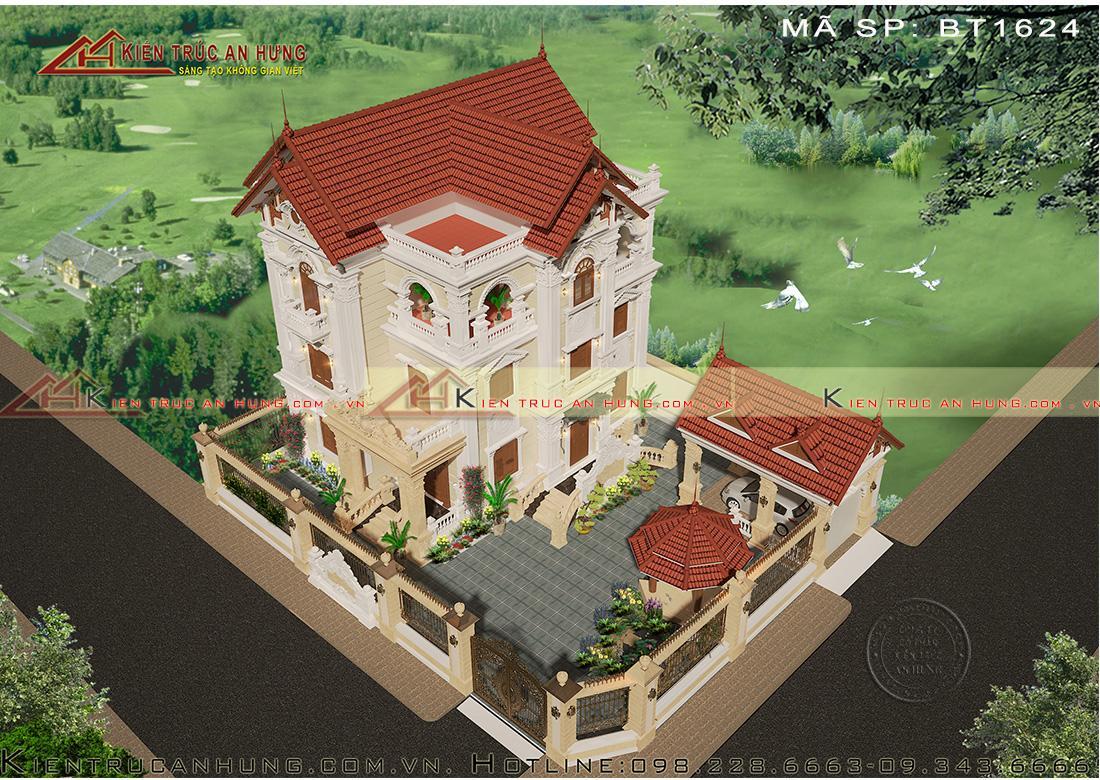 Biệt thự cổ điển mái thái BT1624 nhìn từ trên cao