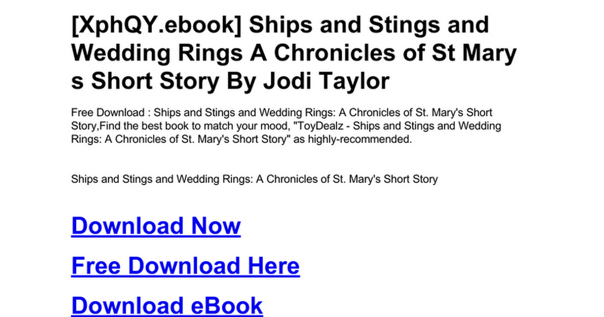 Ships And Stings And Wedding Rings A Chronicles Of St Mary S Short