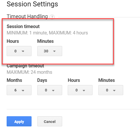 Screenshot of Google Analytics settings to change the session timeout.