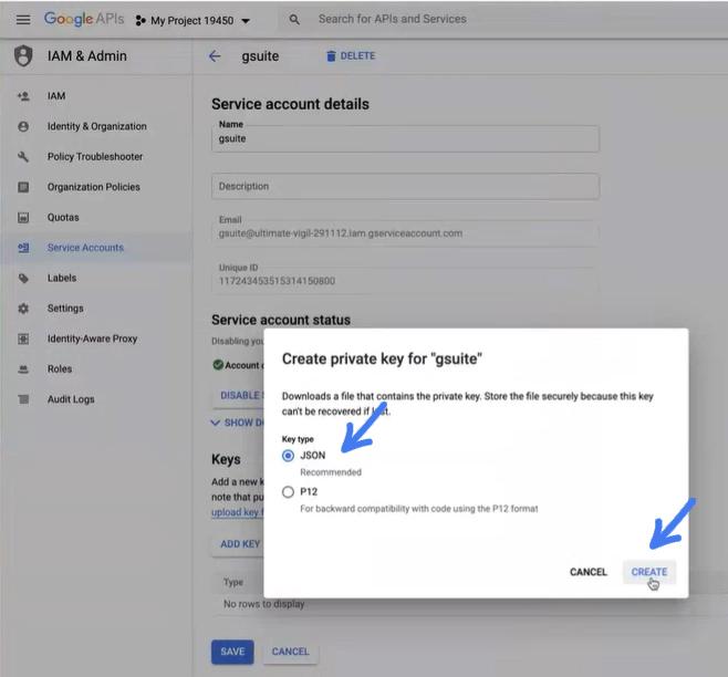 בחירה ב JSON בגוגל בשביל להגדיר את התיבת מייל הצוותי