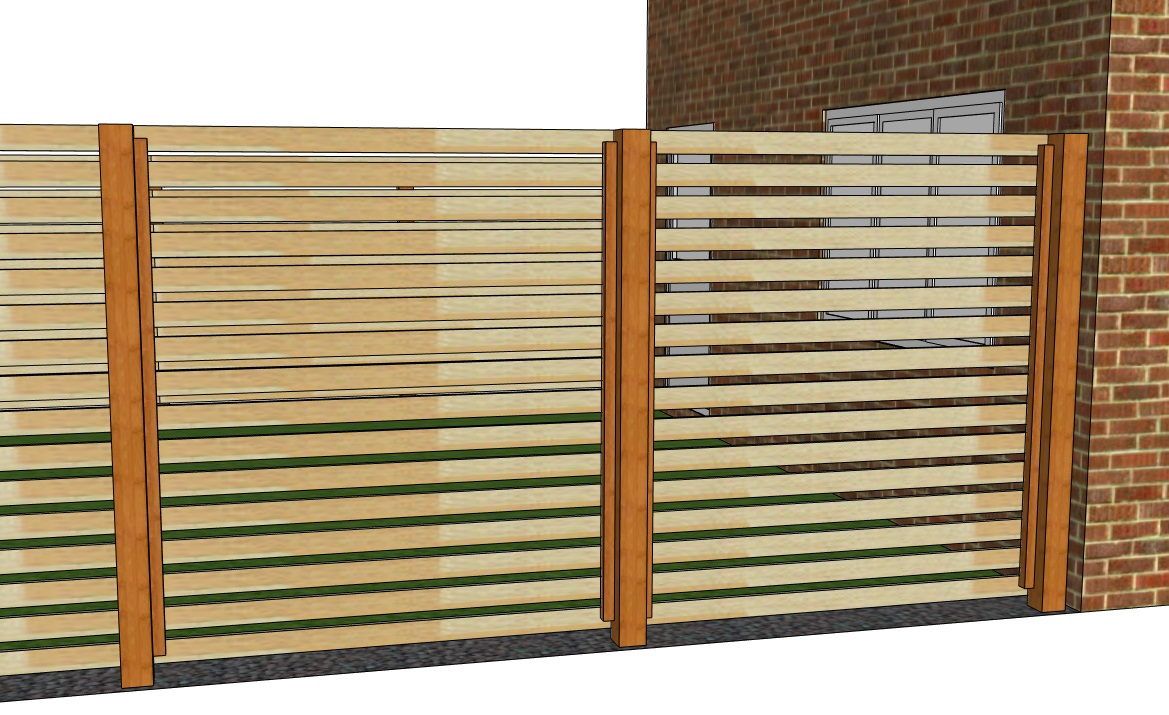 Attaching brackets to a single sided slatted fence before attaching the rear slats