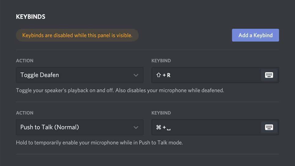 Configurar combinaciones de teclas en Discord