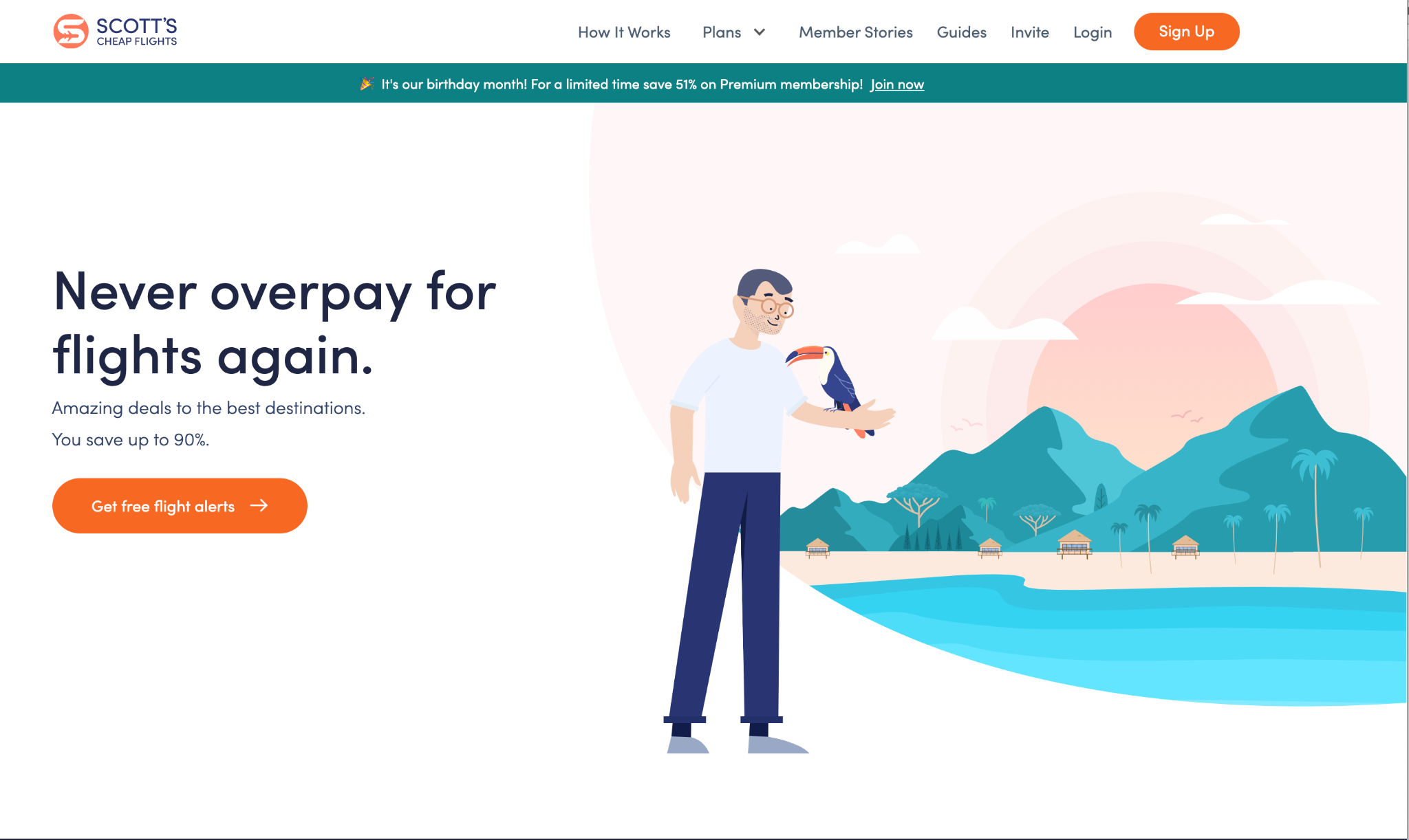 The home page for Scott's Cheap Flights shows nothing but immediate actions to: Get free flight alerts, learn how their service works, see service plans, read member stories, read guides, invite others, log in, or sign up.