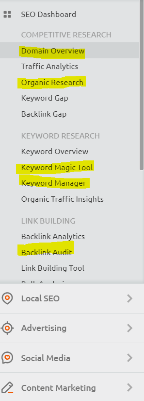 SEMrush review - image of the menu and areas of SEMrush that I use highlighted in yellow.