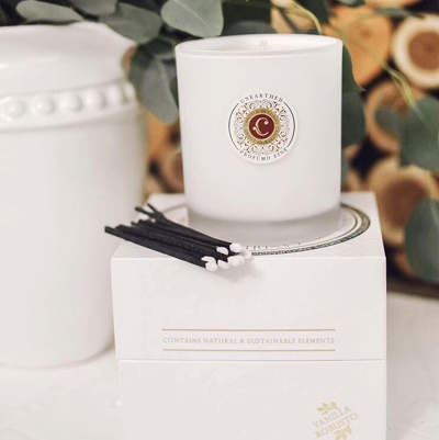 Vanilla Robusto, a complex, smoked vanilla scented candle