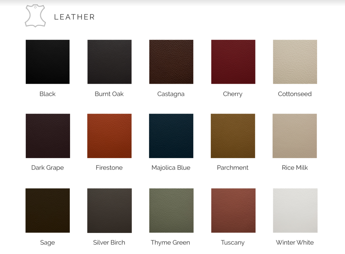 Leather samples available on all our British made furniture