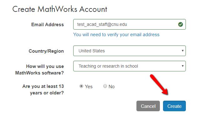 MathWorks Account Creation