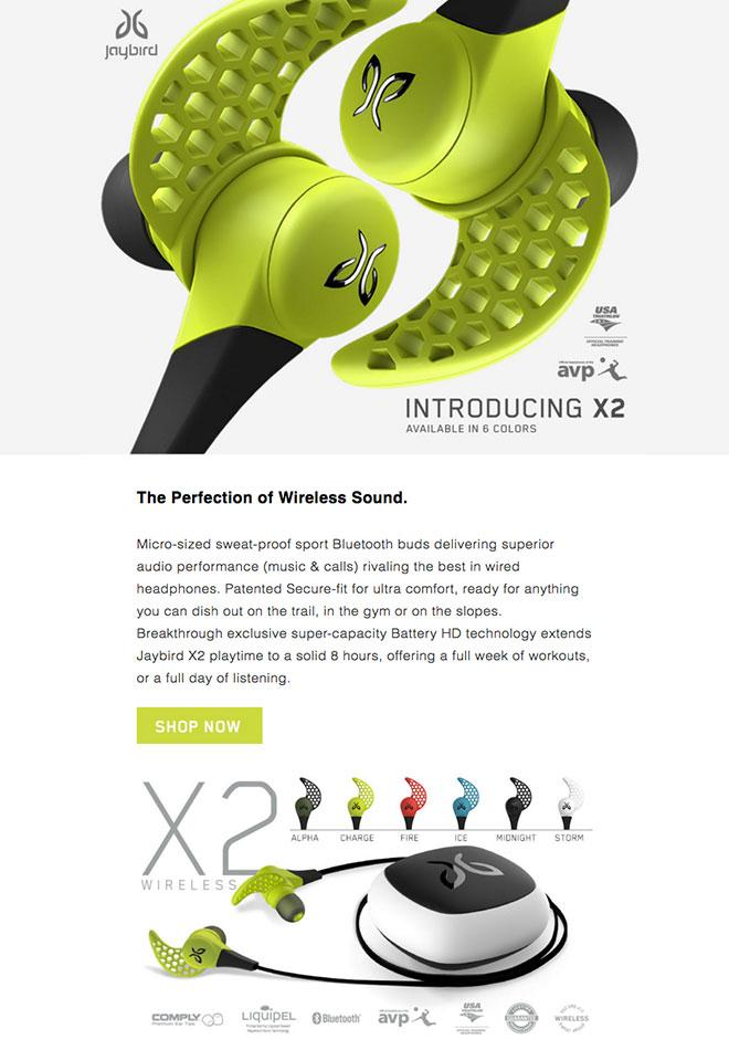 Jaybird's email copywriting get's right to describing how this product will work for the consumer