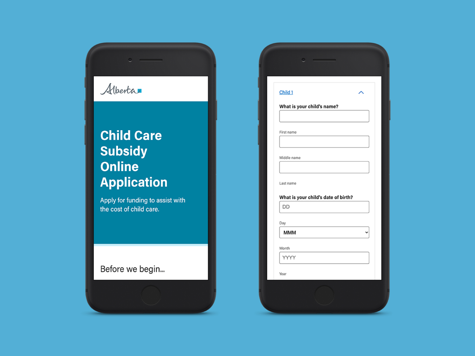 The new Alberta government digital child care certification application shown on an iPhone over a blue background