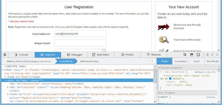 Cyberfox, Developer mode > Inspector