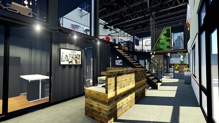 Không gian lễ tân trong mẫu nhà văn phòng 2 tầng được thiết kế theo phong cách đơn giản nhưng tinh tế