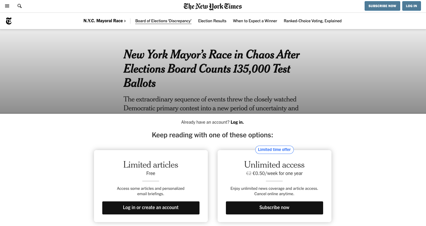 The New York Times Registration Wall