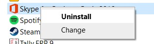 Right-click on Skype for Business and select Uninstall from the pop-up