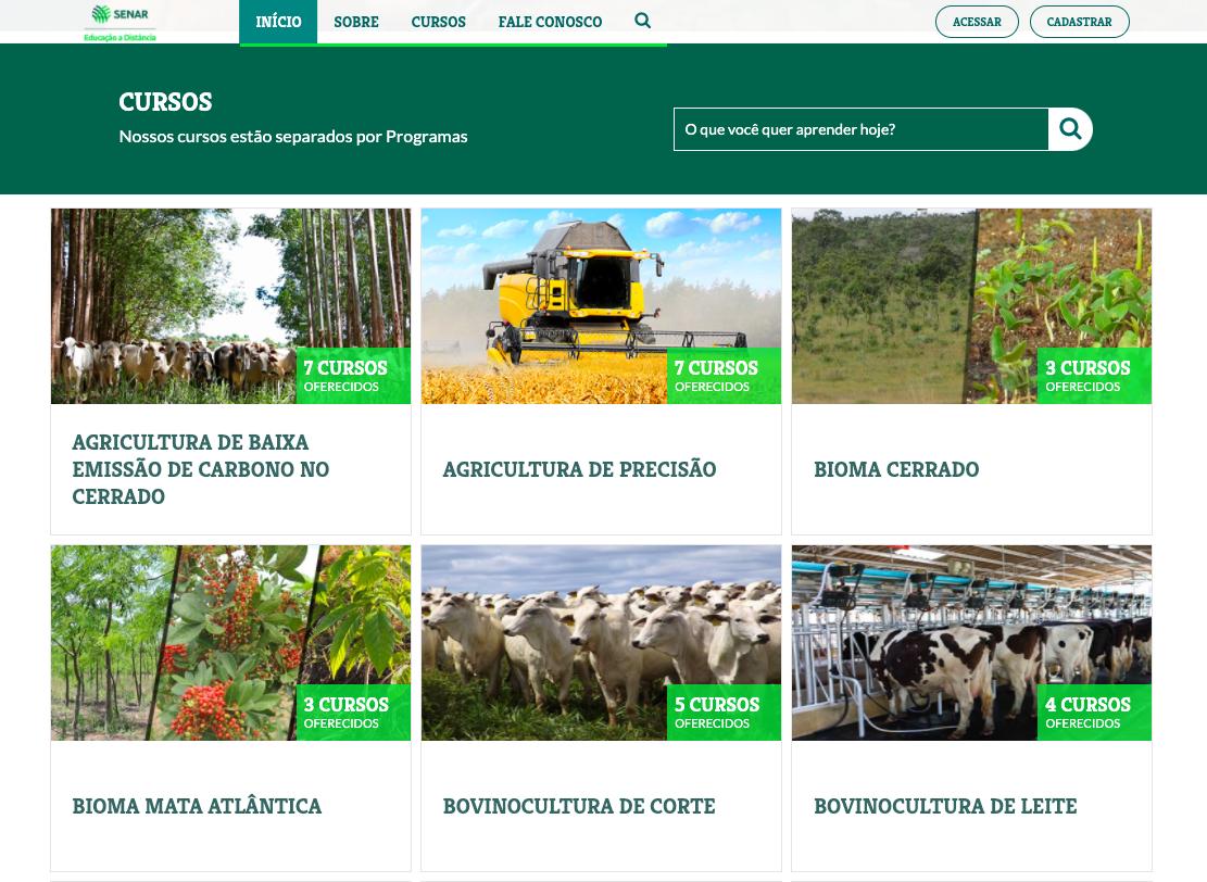 Senar EAD oferece cursos online sobre diferentes áreas do agronegócio